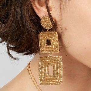 NWT Baublebar Henna Drop Earrings Gold Beaded